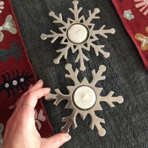 Other - Pair of cute snowflake votive candle holders